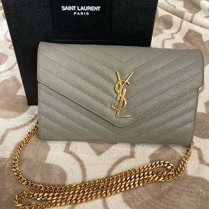Vintage YSL Wallet on a Chain - Oyster Grey